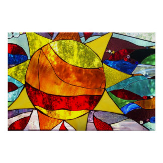 Stained Glass Sun Poster