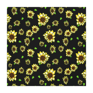 Stained Glass Sunflowers on Black Stretched Canvas Print