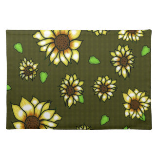 Stained Glass Sunflowers on Olive Gingham Place Mat