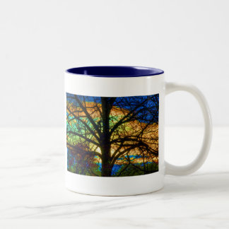 Stained Glass Tree Two-Tone Coffee Mug