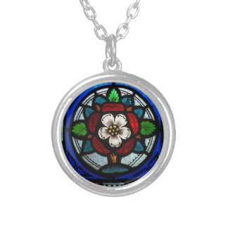 Stained Glass Tudor Rose Necklace
