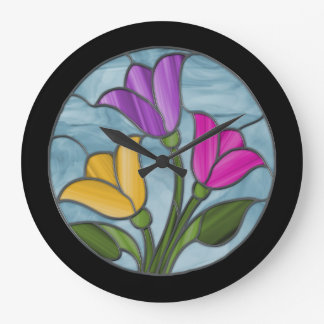 Stained Glass Tulips in Spring Colors Large Clock