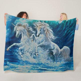 Stained Glass Unicorns Mosaic Portrait Fleece Blanket