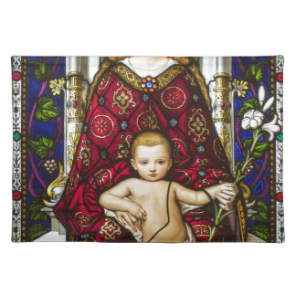 Stained glass Virgin and Child Place Mats