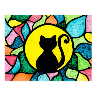 Stained Glass Watercolor Kitty Postcard