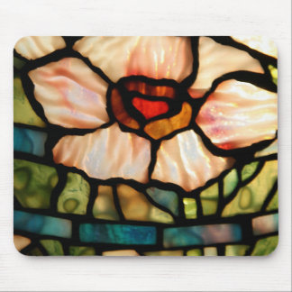 stained glass white poppy mouse mat