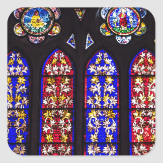 Stained glass window, church accessories square sticker