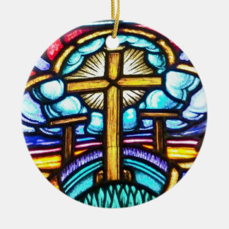 Stained Glass Window Cross Christian Christmas Orn Round Ceramic Decoration