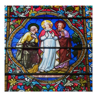 Stained Glass Window in Lincoln Cathedral, England Poster
