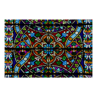 Stained Glass Window in St Michans Church Poster