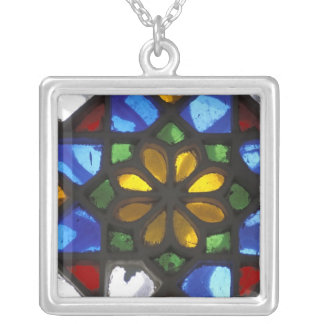 Stained glass window inside the National Silver Plated Necklace