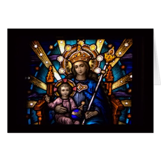 Stained Glass Window Madonna & Child Card
