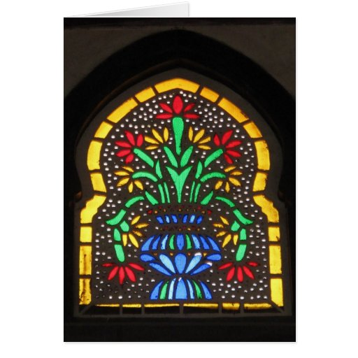 Stained glass window  Mosque of Suleyman Aga Greeting Cards