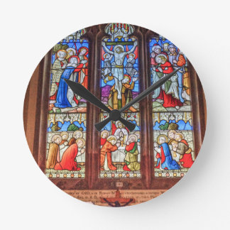 Stained glass window round clock