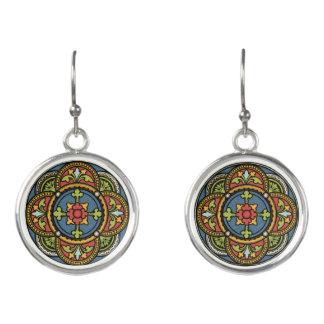 Stained Glass Window Silver Drop Pierced Earrings
