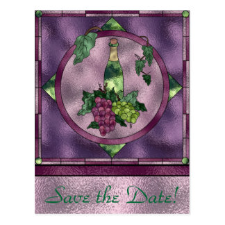 Stained Glass Wine Love Postcard