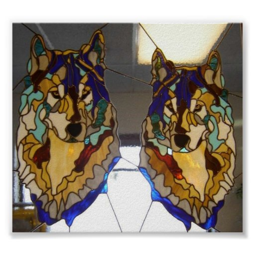 Stained Glass Wolf Pair Poster