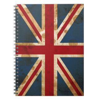 Stained Grunge Union Jack UK Flag Notebooks