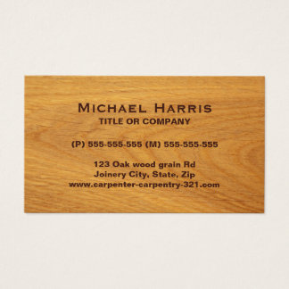 Stained oak wood business card