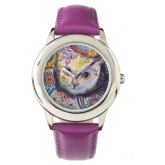 stainless clock cat watch