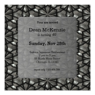 Stainless steel birthday party 13 cm x 13 cm square invitation card
