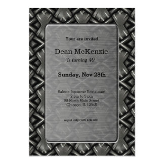 Stainless steel birthday party 13 cm x 18 cm invitation card