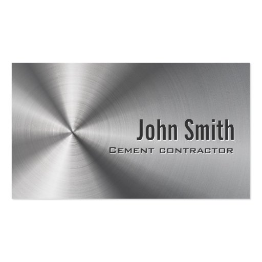 Stainless Steel Cement Contractor Business Card