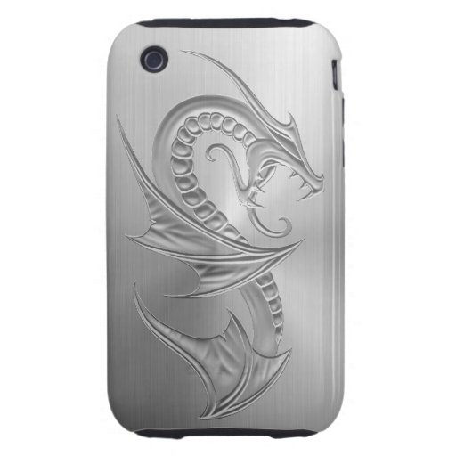 Stainless Steel Effect Dragon Graphic iPhone 3 Tough Case