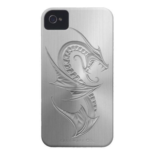 Stainless Steel Effect Dragon Graphic iPhone 4 Cover