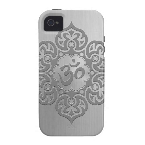 Stainless Steel Effect Floral Aum Graphic Case-Mate iPhone 4 Covers