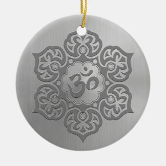 Stainless Steel Effect Floral Aum Graphic Christmas Ornament