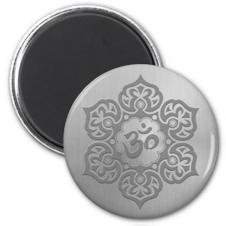 Stainless Steel Effect Floral Aum Graphic Magnets