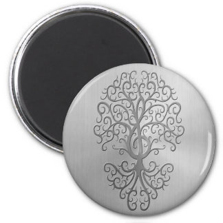 Stainless Steel Effect Treble Clef Tree Graphic 6 Cm Round Magnet