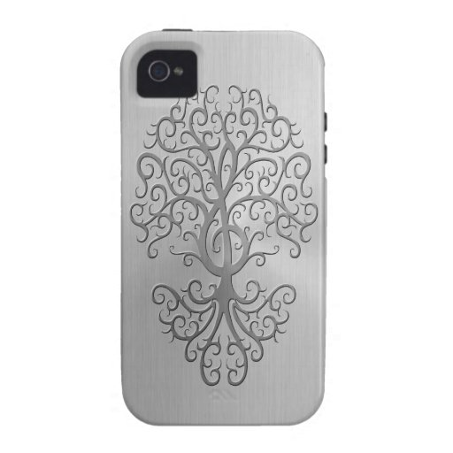 Stainless Steel Effect Treble Clef Tree Graphic iPhone 4 Cover