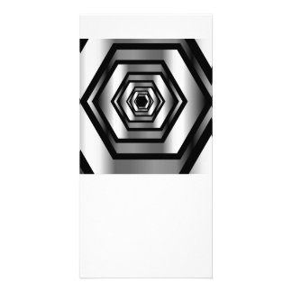 Stainless steel hexagon personalized photo card