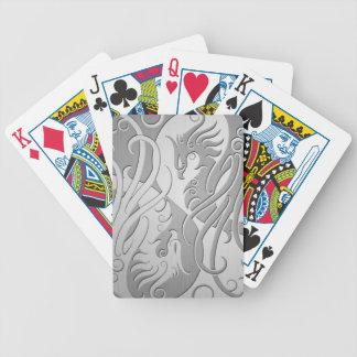 Stainless Steel Look Yin Yang Phoenix Poker Deck