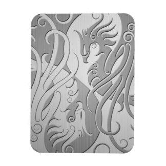 Stainless Steel Look Yin Yang Phoenix Rectangular Photo Magnet