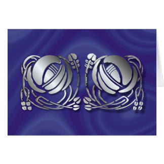 Stainless steel Mackintosh Roses Note Card