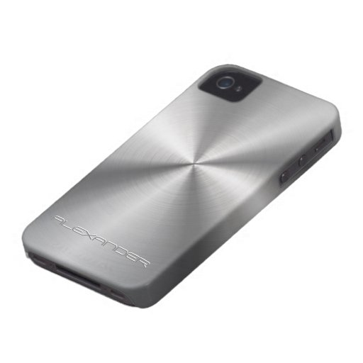 Stainless Steel Metal Look-Custom Text Case-Mate iPhone 4 Cases