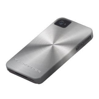 Stainless Steel Metal Look-Custom Text iPhone 4 Case-Mate Case