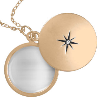 Stainless Steel Metal Look Round Locket Necklace