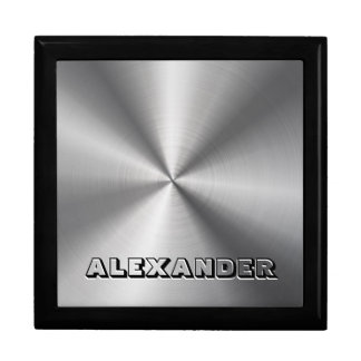 Stainless Steel Metal Pattern-Custom Text Large Square Gift Box