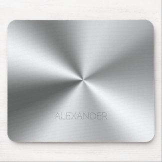 Stainless-Steel Metallic Texture Custom Monogram Mouse Pad