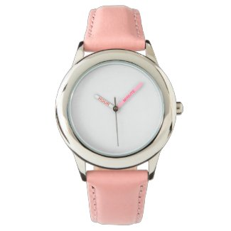 Stainless Steel Pink Leather Strap Watch