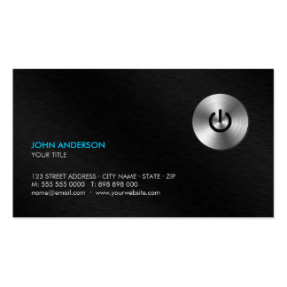 Stainless Steel Power Button Hi-Tech business card