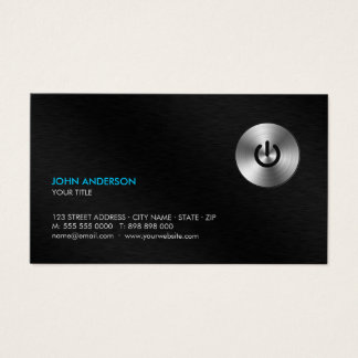 Stainless Steel Power Button Hi-Tech Professional Business Card
