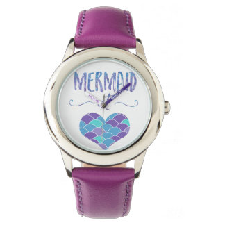 Stainless Steel Purple Mermaid at Heart Watch