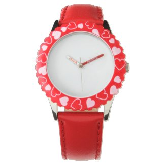 Stainless Steel Red Hearts Watch, Adjustable Bezel