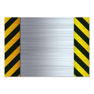 Stainless Steel with Hazard Stripes 9 Cm X 13 Cm Invitation Card