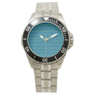 Stainless Steel Wristwatch: Blue, Green Goemetric Watch